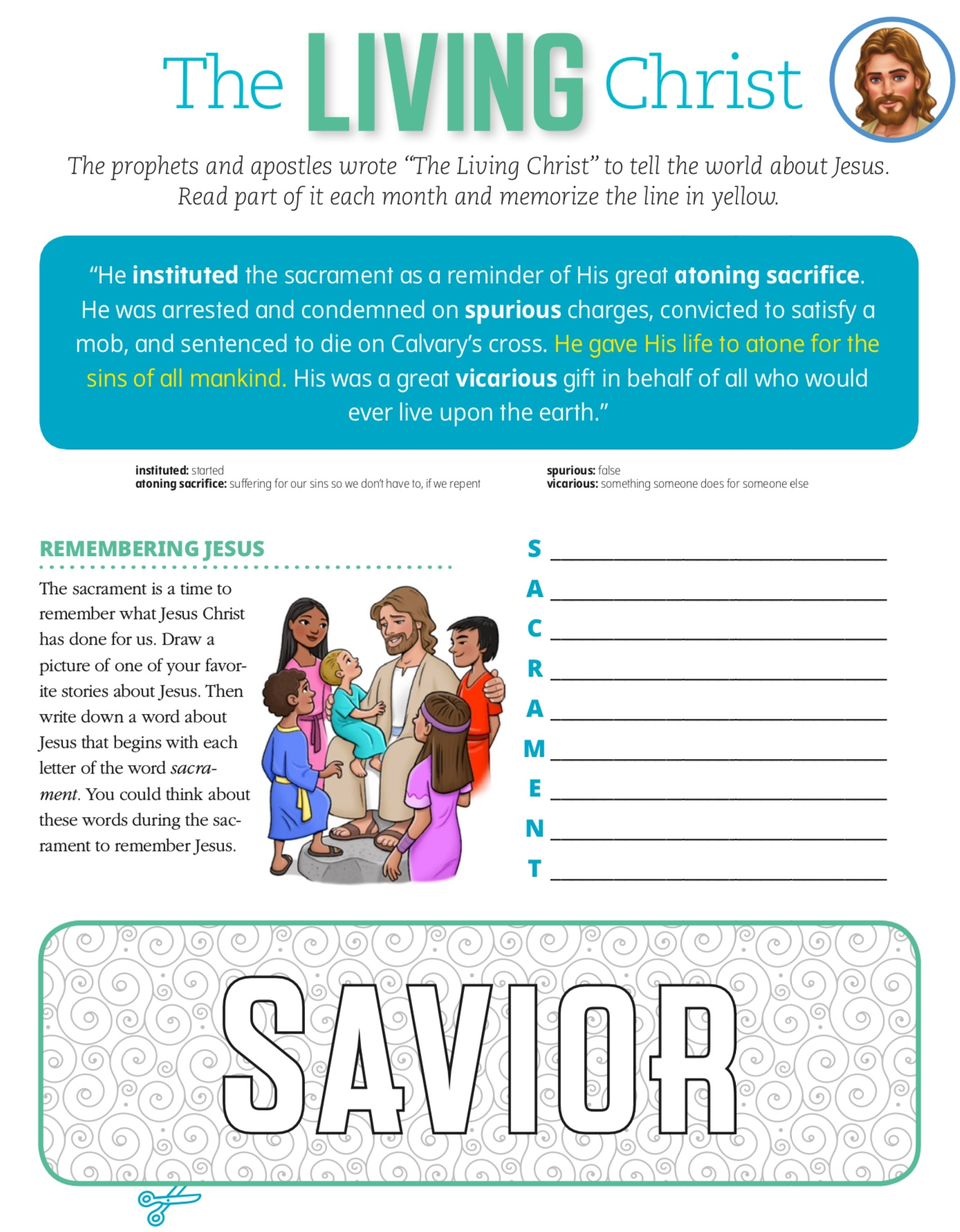 graphic relating to The Living Christ Printable named principal Archives - Education Young children